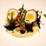 Quails egg and goats cheese starter