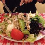 Seasoned chicken! Huge salad w/ Garlic-Cashew dressing!