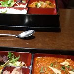 Auto-cropped oddly but gives an idea.. The Tiffin Box: choice of curry, rice, salad, pickle £5.9