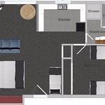 One bedroom family apartment floor plan - 48m2