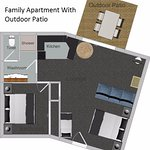 One bedroom family apartment with patio floor plan - 43m2