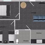 Two bedroom suite floor plan - 48m2