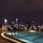 View of pool at night - how sweet it is!