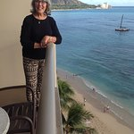 Marylin on the balcony with Diamond Head in the background.