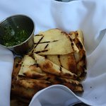 Delicious grilled naan with pesto