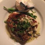 Ippoglossa (Atlantic halibut steak roasted with fava puree, broccoli & artichoke, olive tapenade