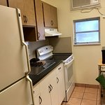 Studio King includes full size appliances, dishes, pots/pans, utensils