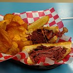 Grilled corned beef sandwich and potato chips made in-house.