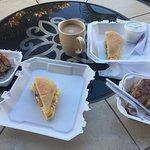 Cinnamon rolls with a breakfast sandwich