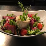 Baked Somerset goats cheese and smoked Exmoor venison
