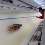Luge run in action