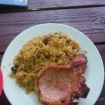 Pork  chunk, sign, pork chunk with tostone, pork chop and pigeon rice