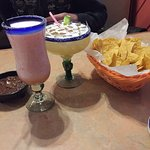 My watermelon Margarita & Hubbies drink along with chips