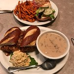 Maple bacon wings, pulled pork sandwich with soup and chicken burger with sweet and salty yam fr