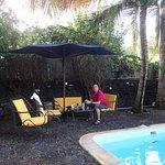 cion sympa piscine et douche extérieure, il y a aussi un autre espace avec chaises longues