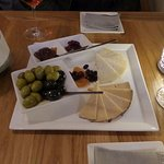 Wine, cheese and complimentarys.