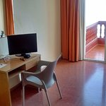 Room 304, desk with chair and TV