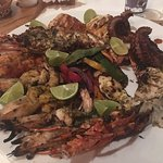 The Simple Sampler #2. Butter fish, Red snapper, octopus, Lobster, and Prawns. The butter fish w