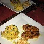 Cajun Chicken, garlic shrimp, & garlic seabass!