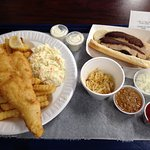 Fish Fry Friday dinner & a White Hot w/ sauerkraut, onions, and meat sauce