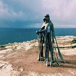 King Arthur temporary sculpture on the cliff