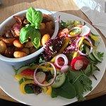 Vegan gnocchi and fresh mixed leaf salad