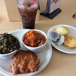 Nice surprise...chicken breast with sweet potato soufflé, collard greens and corn muffins.