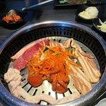 Small intestine, steak, octopus and pork belly