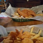 Fried Catfish with Fries and Fried Shrimp with Fries