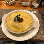 Une croute au fromage et jambon
