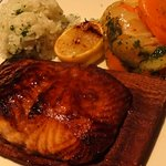Planked Salmon, jasmine rice