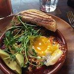 eggs, chorizo, tomato, avocado and greens