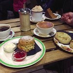Yum! Mine was the warm fruit scone, jam and clotted cream - very low calorie ...