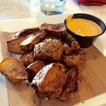 Fried Sunchokes with Sriracha mayo - its the root of a sunflower, tastes like a artichoke with t