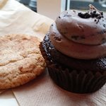 Matcha Snickerdoodle cookie and the Roaster cupcake - both were perfectly moist, delectable and