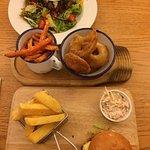 Menu, food and bar