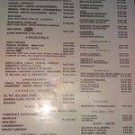 Drink menu at Ritas Fajitas