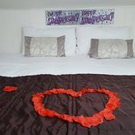 Our room decorated for our anniversary