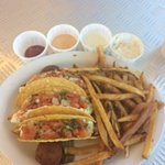 Tilapia tacos! Awesome! I substituted the fabulous fries instead of beans and rice they are the
