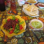 Salad with Carne Adovada and sopapilla's
