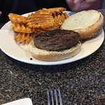 Grilled cheese w/ bacon and tomato; onion rings. Kids chicken fingers & fries. Burger & waffle f