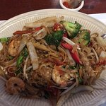 My custom: Pad Kee Mao w pad thai noodles and shrimp