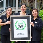 Three of our wonderful housekeeping staff with our TripAdvisor 2016 Travellers' Choice Winner Aw
