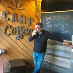 Travel writer Mark P. Fisher enjoying the inspiring roasting room and good coffee
