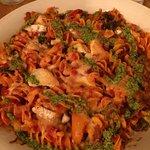Fantastisk god glutenfri pastarätt 👍🏻 och dessutom fanns det glutenfritt vitlöksbröd!