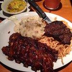 Steak & Ribs with mashed potatoes & broccoli casserole
