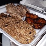 Roast Pork, Congri (rice with black beans) and sweet plantains.
