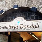 Gelateria Dondoli sign - you can't miss it - long line but it goes fast!