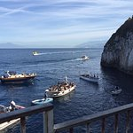 Waiting in line at Blue Grotto. i think the line is shorter than those who arrived from the boat