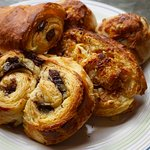 Chocolate and coconut horns, cheese and walnut buns, pan au chocolate